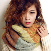 New Scarves Fashion Wraps Korean Autumn Casual Winter Scarf Women Warm Knit Neck Circle Blend Cowl Ring Long Scarf Thicken Shawl