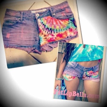 Customized Low rise Tie Dye Daisy Duke Hipster by FatLipBella