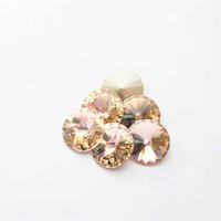 Six Vintage Rose 1122 12mm Foiled Swarovski Pointed Back Rivoli DKSJewelrydesigns