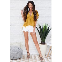 Boho Queen Plunging Blouse (Mustard)