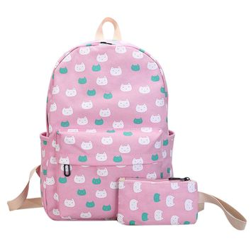 2pcs Canvas Cute Cat Printing Backpack Set Preppy Chic School Bags For Teenage Girls Women Backpack Rucksack Back Pack Mochila