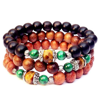 intuition and prosperity, Tiger's eye and Malachite mala bracelet set