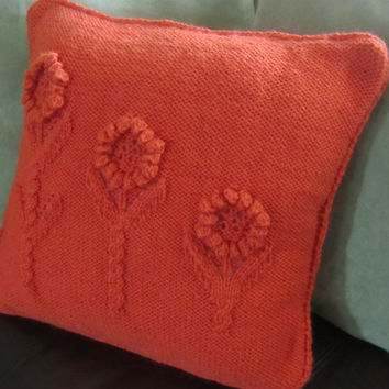 READY TO SHIP Flower Garden hand knit pillow by LadyshipDesigns