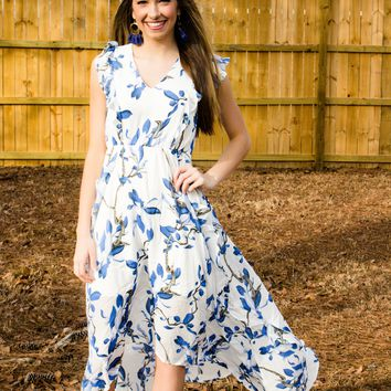High-Low Blue Floral Maxi