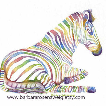 Zebra Art, Zebra Fantasy Rainbow Watercolor Painting, Zebra Art Print, Boy Girl Nursery Decor, Zebra Painting Baby Gift, Barbara Rosenzweig