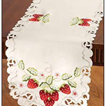 Strawberry Embroidered Lace Table Runner Dining Kitchen Linen