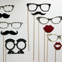 Photo booth Props on a Stick - The  Black Tie Affair