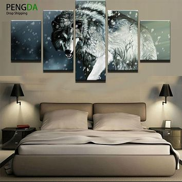 Printed Landscape Modular Picture Large Canvas Painting 5 Panel Animal Wolf For Bedroom Living Room Home Wall Art Decor