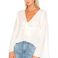 ANIMALE Bell Sleeve Blouse in White | REVOLVE