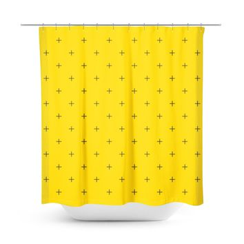 Swiss Cross Mustard Yellow Shower Curtain