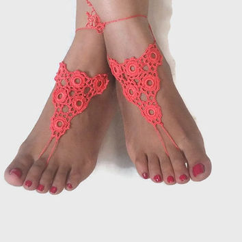 CHRISTMAS Barefoot Sandals  Crochet Barefoot Sandals - Nude Foot Jewelry - Summer Yoga Beach Sandals Crochet Anklet