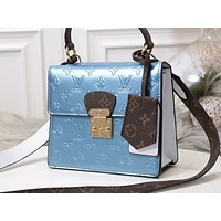 LV Fashion Hotspot Women's Single Shoulder Bag with Printed Colour Shopping Bag Blue