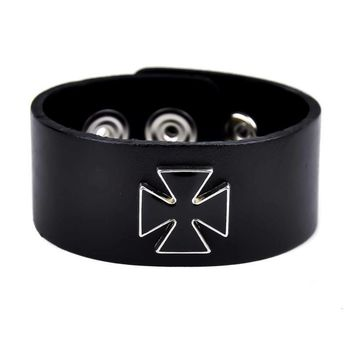 "Black Inlay Iron Cross Wristband Quality Leather 1-1/4"" Wide"