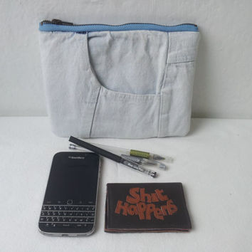 recycled faded denim pouch,denim pencil case, jeans, upcycled, denim make up pouch, denim clutch, denim pouch, repurposed, zipper pouch