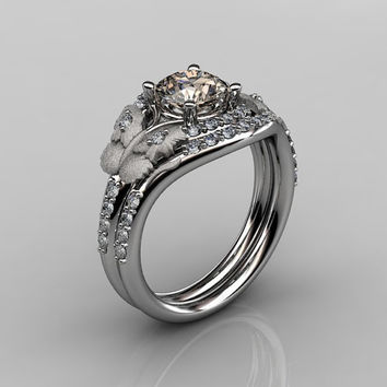 14KT White Gold Diamond Leaf and Vine Champagne Diamond Wedding Ring,Engagement Ring NN117SS-14KWGDCHD Nature Inspired Jewelry