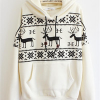 Cupshe Easy Does It Deer Hoodie Sweatshirt