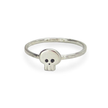 Tiny Skull Sterling Silver Ring