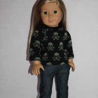 18 inch doll clothes, black sweater with skulls, dark washed skinny jeans, american girl ,maplelea