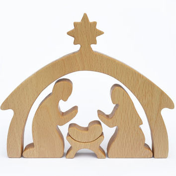 4 piece Wooden Nativity Scene - Nativity Set - Christmas gift