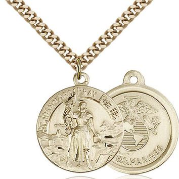 14K Gold Filled St Joan Of Arc Marines Military Soldier Catholic Medal Necklace 617759883947