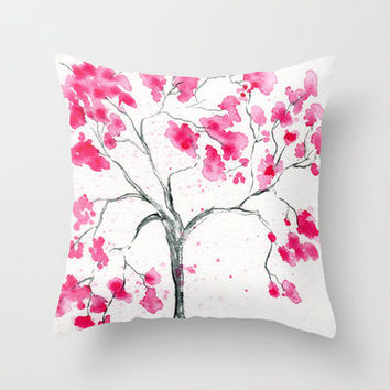 Pink Cherry Blossom Tree Throw Pillow by WindingRoadGallery