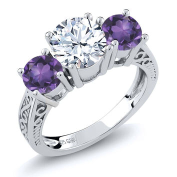 Round White Topaz Purple Amethyst 925 Sterling Silver 3-Stone Ring