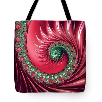 Red And Green Fractal Spiral Tote Bag