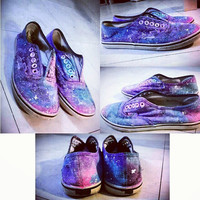 Custom Galaxy Shoes black on white by FunguzamOngusz on Etsy