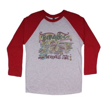 Tennessee Roadmap Raglan Tee Shirt in Red by Southern Roots