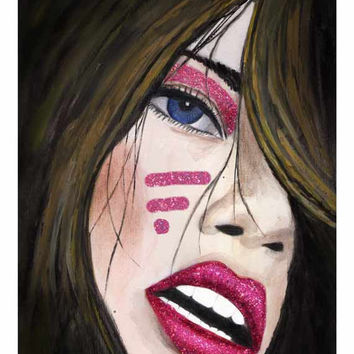 Pink Party Tribe Giclee Print from Original Watercolor Fashion Portrait Artwork