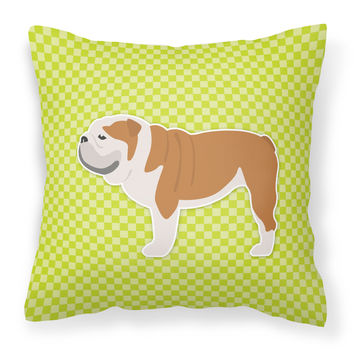 English Bulldog Checkerboard Green Fabric Decorative Pillow BB3862PW1414