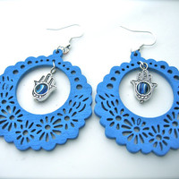 Wooden Earrings , blue Earrings. Hoops Earrings. Bright Earrings. Flower Floral,Fatima hand charm, Hamsa charm