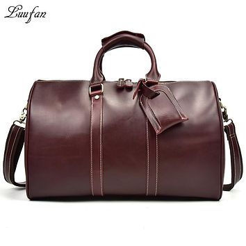 Women glossy genuine leather travel duffel shiny Real leather travel bag Unisex Weekend bag cowhide tote bag shoulder bag