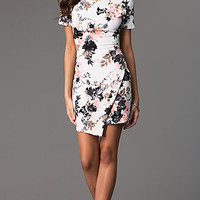 Short Floral Print Short Sleeve Dress