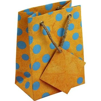Handcrafted Recycled Paper Polka Dot Gift Bags w/ Gift Tag Set of 6 Yellow Blue
