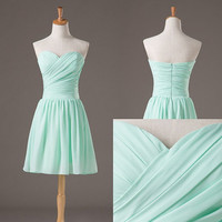 Short Bridesmaid Dress, Mint Bridesmaid Dress, Short Prom Dress,  Beach Wedding Party Dress, Cheap Party Dress, Summer Dress