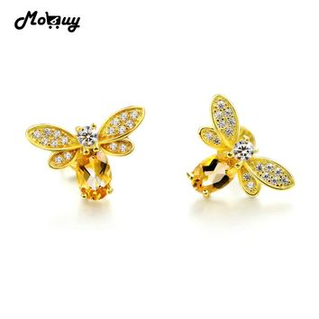 MoBuy MBEI041 Natural Citrine Lovely Bee Stud Earrings 925 Sterling Silver Jewelry 14K Yellow Gold Plated Fine Jewelry For Women