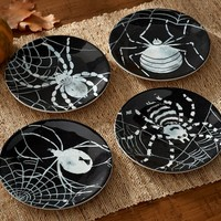 SPIDER TIDBIT PLATES, MIXED SET OF 4
