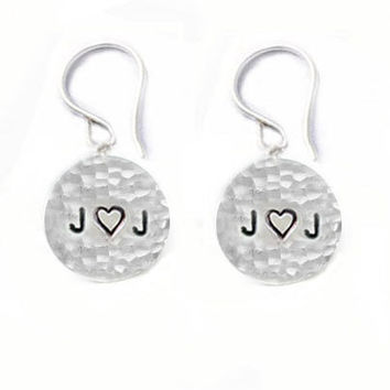 Initial Hammered Earrings Hand Stamped Sterling Silver Dangles Jewelry wedding birthday