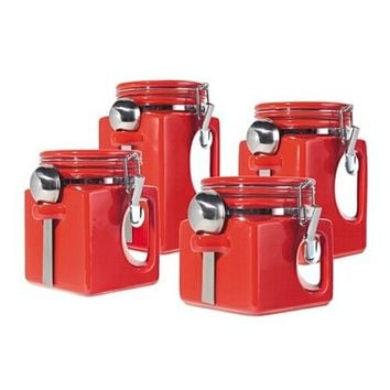 Red 4 Pc. EZ GRIP Airtight Ceramic Canisters with Stainless Steel Spoons