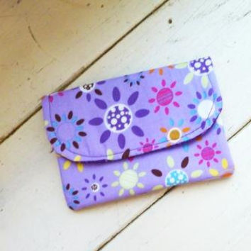 Fabric wallet, purple wallet, fully lined, coupon holder, velcro closure, floral fabric, cotton wallet, ready to ship, handmade, women's