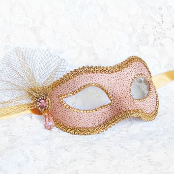Light Pink / Nude And Gold Masquerade Mask - Glitter Venetian Style New Year's Mask With Acrylic Bead And Gold Tulle Decoration