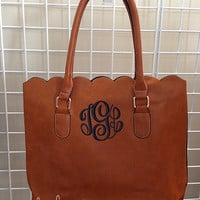 Monogrammed SCALLOPED Edge Faux Leather Tote Bag or Purse | Christmas Gift 2015 BEST SELLER | by Mad About Monograms