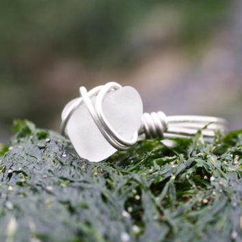 Clear Natural Sea Glass & Sterling Silver Ring, Real Sea Glass