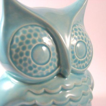 Vintage Ceramic Owl Coin Bank turquoise by modclay on Etsy