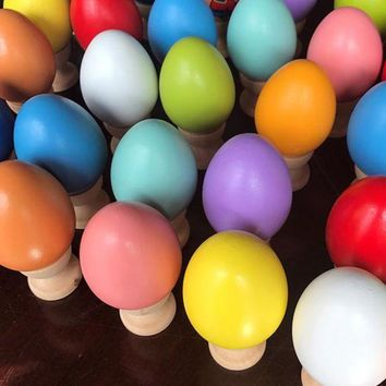 ICIKHNW Easter wooden hand-painted eggs