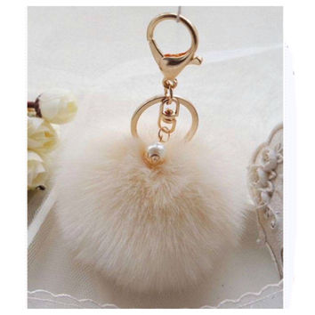 Adorable Ivory Fur Pom Pom Gold Keychain, Purse Charm