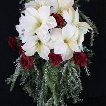 Cascading Christmas Wedding Bouquet Collection