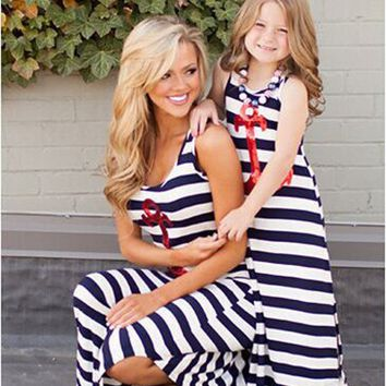 Anchor Style Blue Striped Mother/Daughter Dress