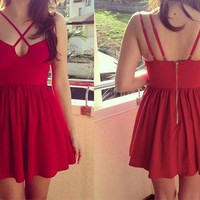 Red Double Strap Skater Dress